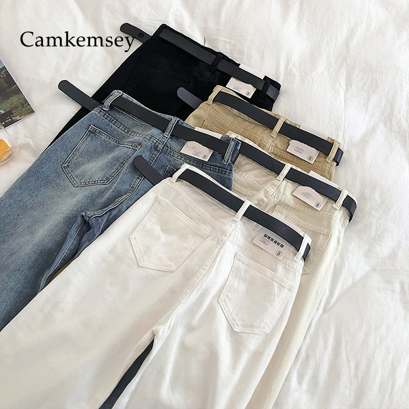 Camkemsey Basic Summer Jeans Woman 2020 Spring Casual High Waist Ankle Length Straight Denim Pants Korean Solid Mom Jeans