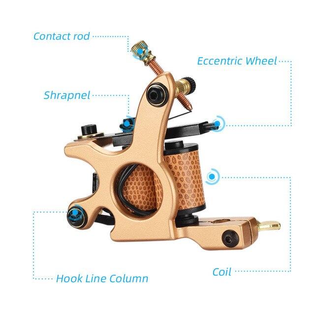 Neue Berufs Kupfer Tattoo Maschine Spulen Rahmen Liner Shader Maquina De Tatuagem 10 Wraps Tatto Gun für Tätowierer Anfänger