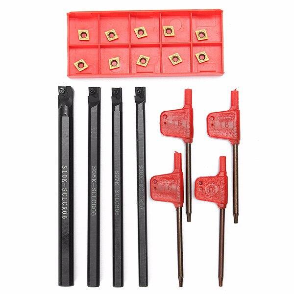 18Pcs 6/7/8/10Mm Sclcr06 Turning Tool Lathe Boring Bar + 10X Ccmt060204-Hm Insert