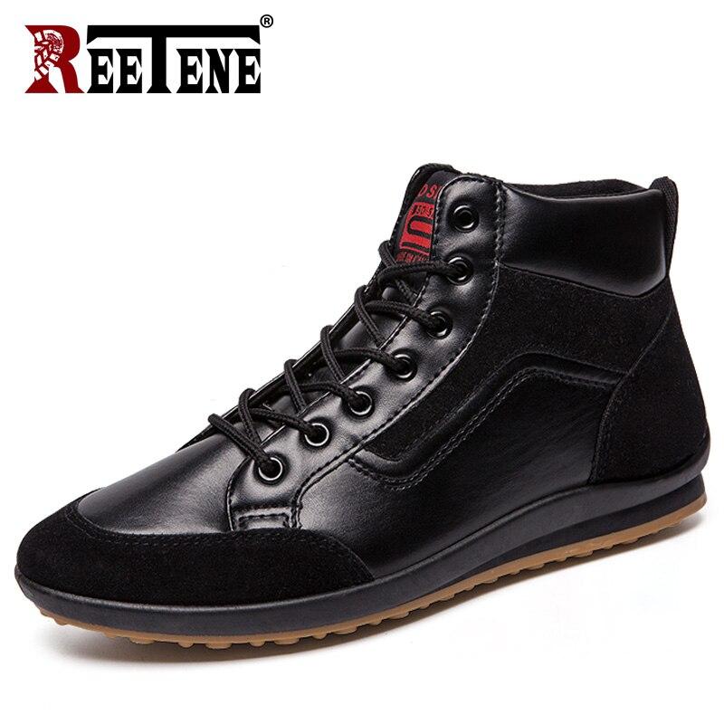 REETENE 2019 New Men Leather Boots Fashion Autumn Winter Warm Cotton Men Ankle Boots Lace Up Men Shoes Footwear Men Casual Shoes
