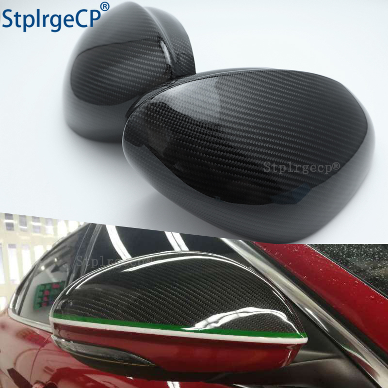For Alfa Romeo Giulia 952 Stelvio 949 2016 - 2019 100percent Real Carbon Fiber Side Wing Rearview Mirror Cap Case Shell Cover Trim