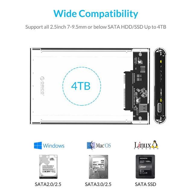 ORICO HDD Case 2.5 inch Transparent SATA to USB 3.0 3.1 Hard Disk Case Tool Free 5Gbps 4TB UASP Type C SSD HDD Enclosure 10Gbps 2
