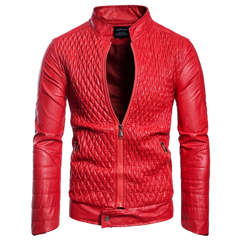 New Fashion Red Leather Jackets Men Coats Stand Collar Diamond Lattice Motorcycle PU Outerwear Male Jacket Brand Clothing Coat