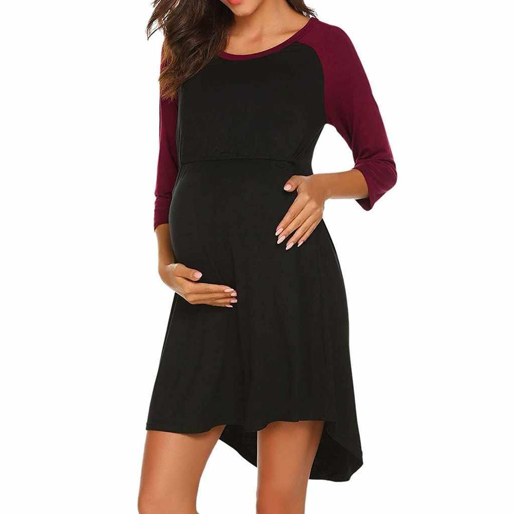 TELOTUNY Women's Maternity Dress Nursing Nightgown Breastfeeding Nightshirt Sleepwear clothes for pregnant women L401030