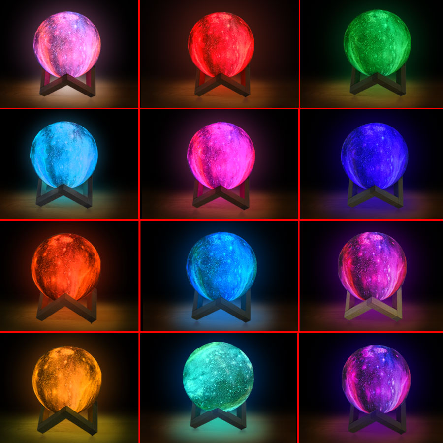 EeeToo 16 Colors 3D Print Moon Lamp With Remote Control Starry Sky Galaxy Night Light Built In Rechargeable Battery Night Lamp