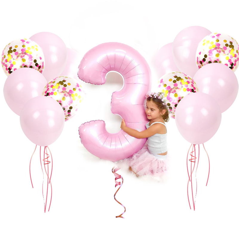 32 Inch Big Foil happy Birthday Balloons Princess Pink/blue Number Latex Balloon 1st Birthday Party Decorations Kid Baloons