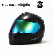 Carbon fiber grain DOT Motorcycle Full Face Helmet color lens Sun Shield Lightweight ABS Motorbike Touring Sports four season