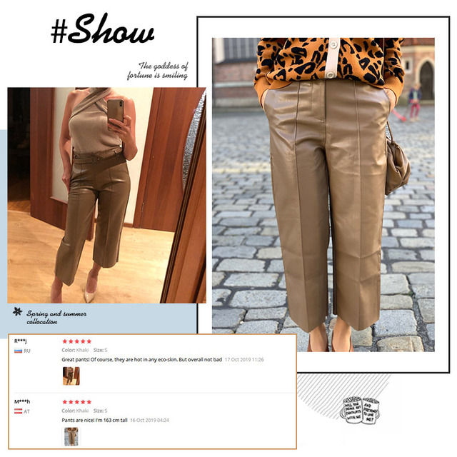 Autumn Faux PU Leather Pants Women With Belt High Waisted Wide Leg Anke-length Women's Trousers 2020 Spring NEW Fashion Clothes 6