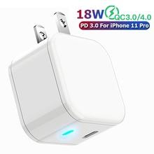 Usb type C зарядное устройство 3A Быстрая зарядка мобильного телефона зарядное устройство адаптер для iPhone 11 11pro XS XR 7 8 X iPad 18 Вт PD зарядный кабель