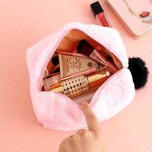 Cosmetic-Bag Multi-Function Zipper Travel Large-Capacity Girl Plush Fur 25--11--12cm