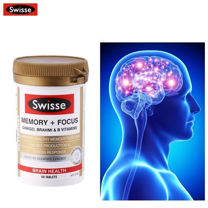 Australia Swisse Memory Focus Ginkgo Tablets Brahmi Vitamin B Brain Function Healthy Mental Performance During Stress Parkinson|Body Self Tanners & Bronzers| - AliExpress