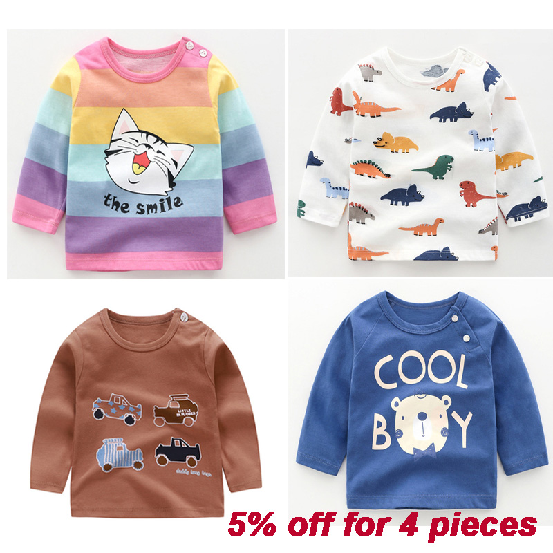 Baby Tops 100% Cotton  Children T-shirt Cartoon Full Sleeve Baby Boys Girls Tees Kids Children Casual Clothing O-Neck Clothes
