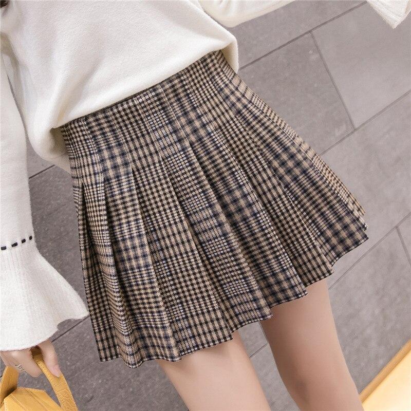 Plaid Woolen Skirt Autumn And Winter Women's Versatile Winter With Sweater Sheath A- Line Skirt Soft Girl Small Short Skirt Wint