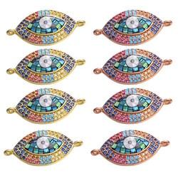 Juya DIY Bracelet Accessories Hand made Opal Shell Charms Greek Evil Eye Connectors For Fashion Bracelet Necklace Making Finding