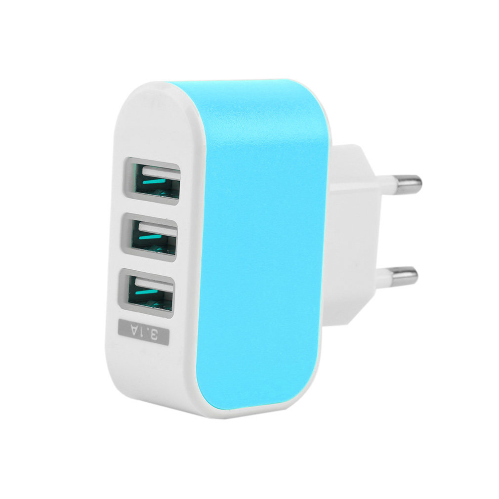 EU Plug LED 3.1A 3-Port Triple USB Wall Adapter Charger Home Travel AC Power For IPhone Samsung LG Drop Shipping
