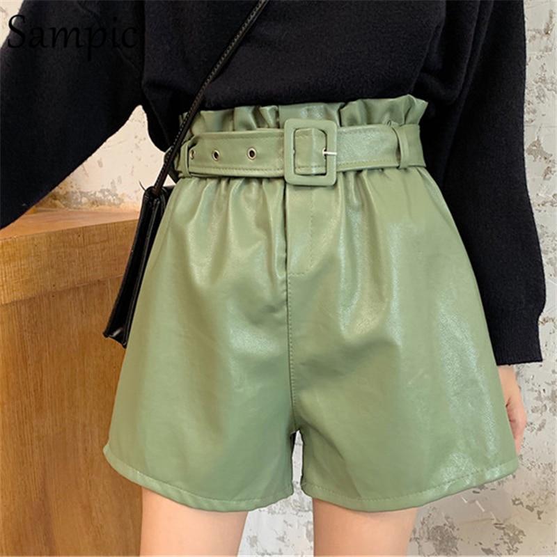 Sampic Womem Sashes Casual PU Leather Shorts Female New Korean Version Wide Leg Loose Elastic High Waist Shorts Winter Autumn