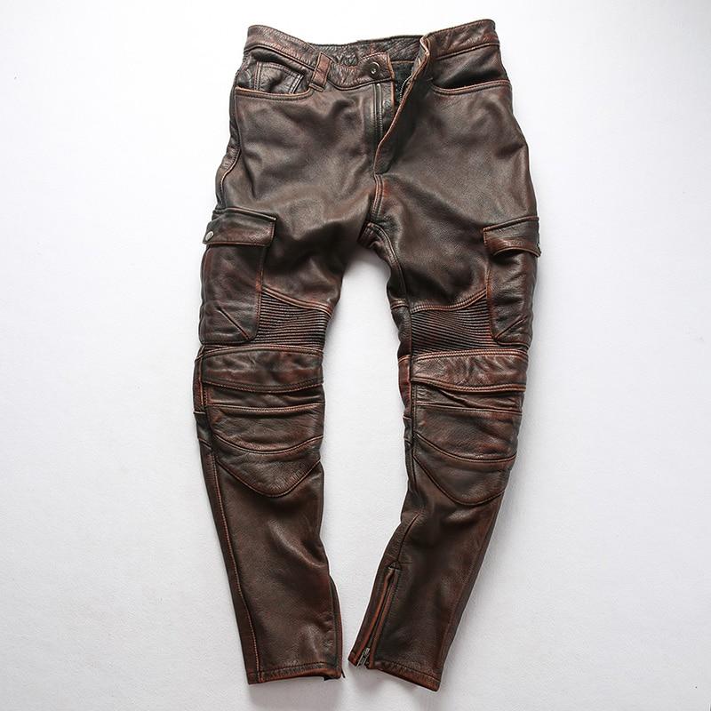 Фабрика 2019 новые мужские винтажные Серые Рабочие многокарманные коровья кожа мотоциклетные кожаные брюки модный плиссированный водитель,