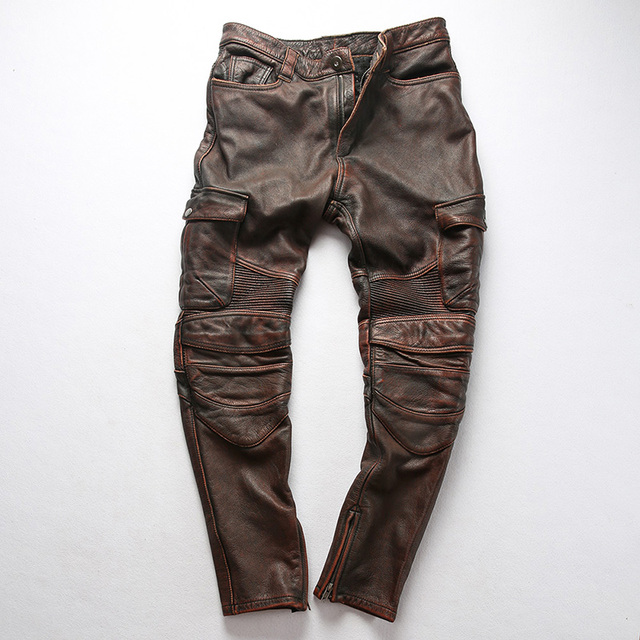 Factory 2019 New Men Vintage Gray tooling multi-pocket Cow leather motorcycle leather pants Fashion Pleated Rider Biker pants 39