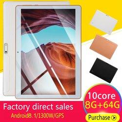 KT107 Kunststoff Tablet 10,1 Zoll HD Großen Bildschirm Android 8.10 Version Mode Tragbare Tablet 8G + 64G Weiß Tablet weiß EU Stecker