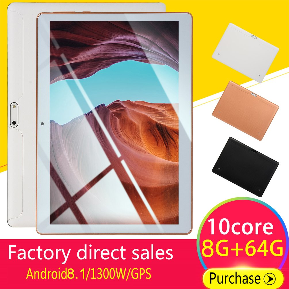 KT107 Plastic Tablet 10.1 Inch HD Large Screen Android 8.10 Version Fashion Portable Tablet 8G+64G White Tablet White EU Plug