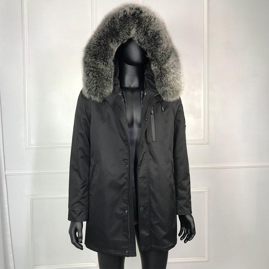 Новинка 2019, черная парка с натуральным мехом для мужчин, зимняя куртка, натуральный мех енота, с капюшоном, пальто, натуральный мех кролика, п...