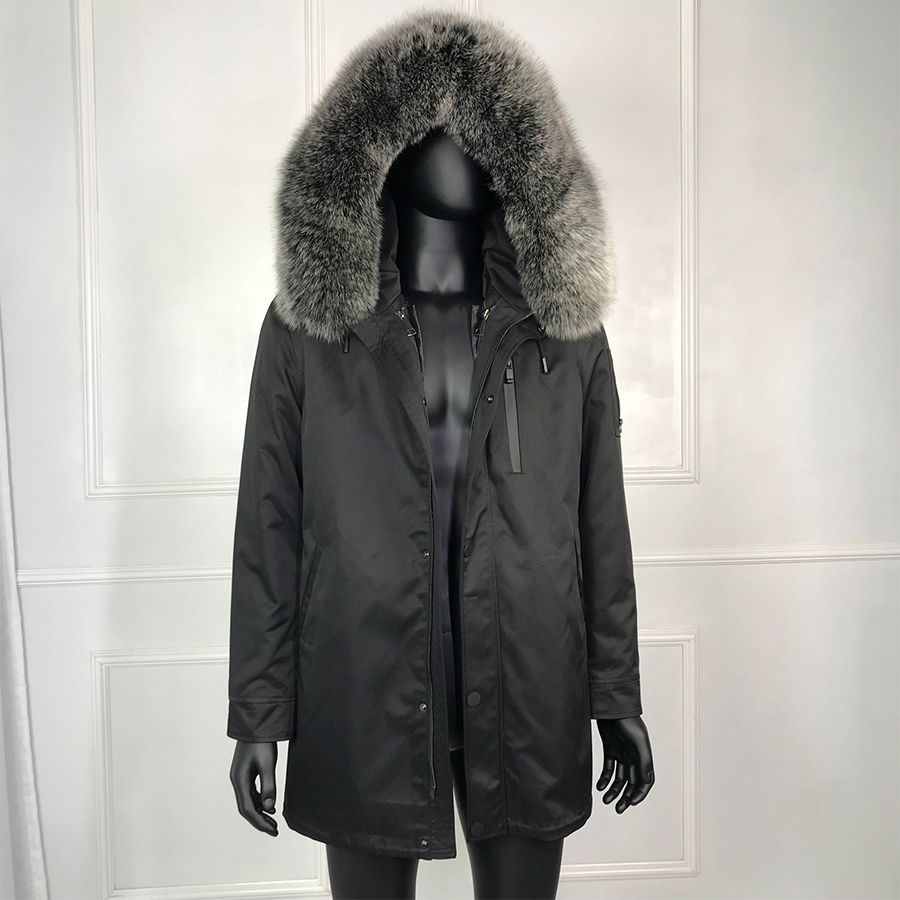 2019 New Black Parka With Real Fur For Men Winter Jacket Real Raccoon Fur Hooded Coat Nature Rabbit Fur Lining  Outwear Classic