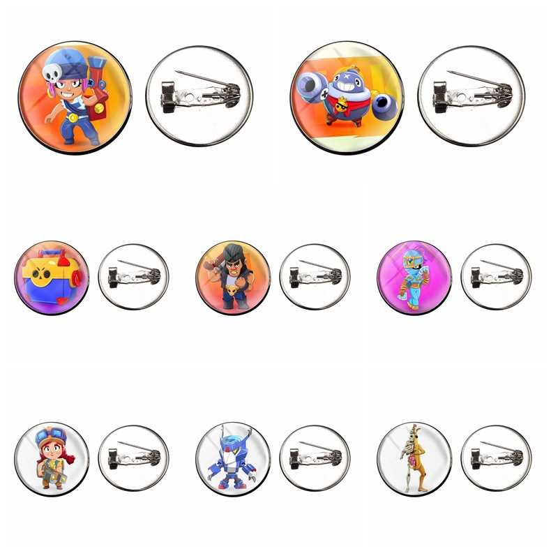 3D Brawl Cartoon Stars Game Badges Icon Anime Cute Pins For Backpacks Clother Decoration Brooches Christmas Badges For Kid Boys