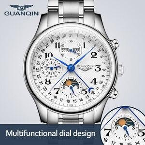 GUANQIN Automatic Watch Men Sapphire Multifunction Lunar Phase Men Watch Waterproof Date Calendar Mechanical Watches