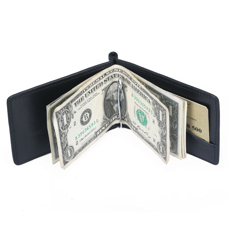 New Mini Men's Leather Money Clip Wallet With Coin Pocket Thin Purse For Man Magnet Hasp Small Zipper Money Bag