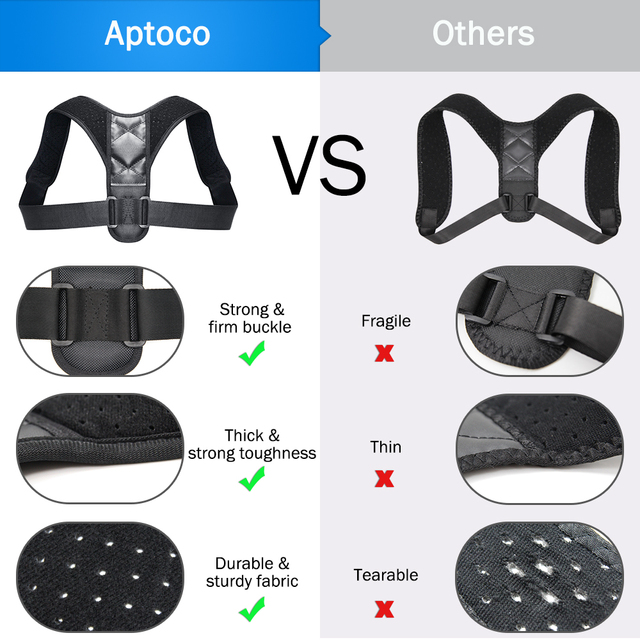 Aptoco Adjustable กลับท่าทาง Corrector Clavicle กระดูกสันหลังกลับไหล่เอวสนับสนุนรั้งเข็มขัดแก้ไข 4