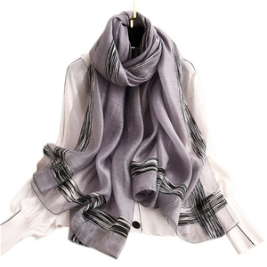 Image 3 - 2020 Solid Stripes Silk Scarf Women Soft Long Autumn Winter Scarves Fashion Shawls And Wraps High Quality Foulard Pashmina Hijab