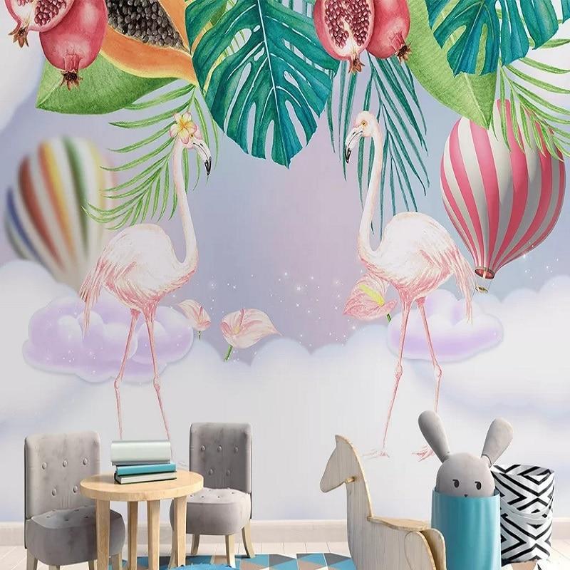 Custom Large Mural 3D Wallpaper Cartoon Animal Flamingo Love Child Bedroom Mural TV Back Wall Decor Deep 5D Embossed