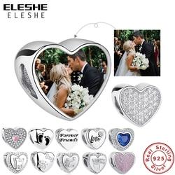 ELESHE 100% Authentic 925 Sterling Silver Bead Charm Fit Original Bracelet Bangle DIY Custom Photo Heart Beads Jewelry Making