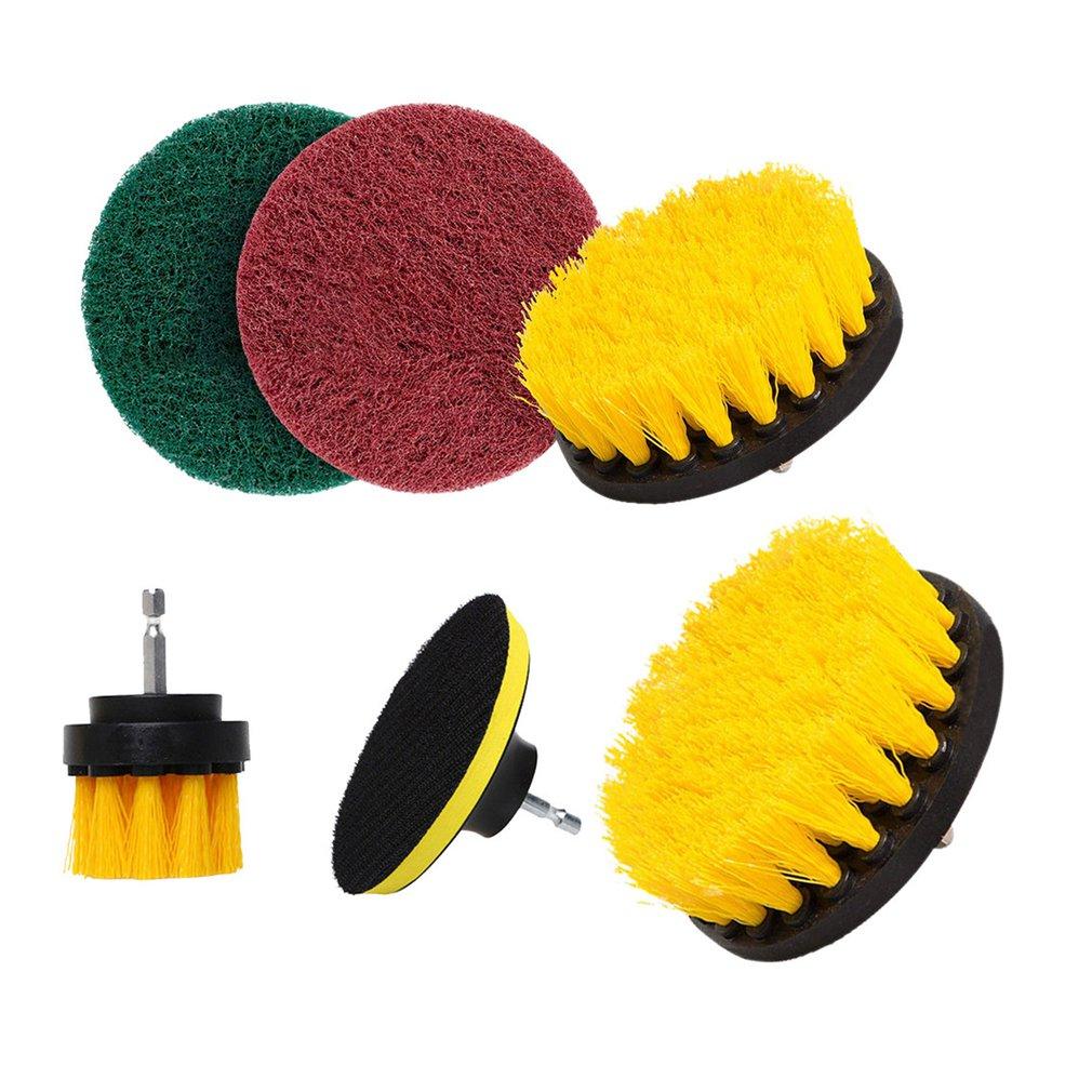 6Pcs/set Electric Drill Brush Kit Plastic Round Cleaning Brush For Carpet Glass Car Tires Nylon Brushes Power Scrubber Drill(China)