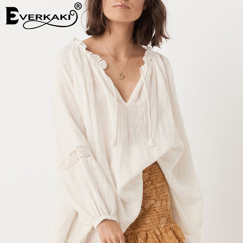 Everkaki Solid Boho Blouse Shirts Women Top Cotton Tassels Neck Tied Long Sleeve Elegant Boho Tops Blouses Female 2019 Autumn