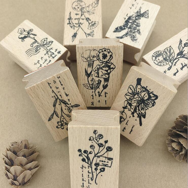 1pcs/lot 9 Kinds Of Plant Flowers Vintage Wooden Painting Cards Decor For Scrapbooking DIY Mini Cute Stamp