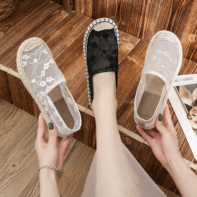 Summer Women's Breathable Mesh Lace Single Shoes New Casual Fashion Flat Shoes Embroidered Hollow Student Fisherman Loafers