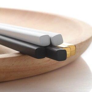 Image 3 - 5 Pairs Eetstokjes Roestvrij Staal Titanize Chinese Gold Chopsitcks Set Black Metal Chop Sticks Set Gebruikt Voor Sushi Servies