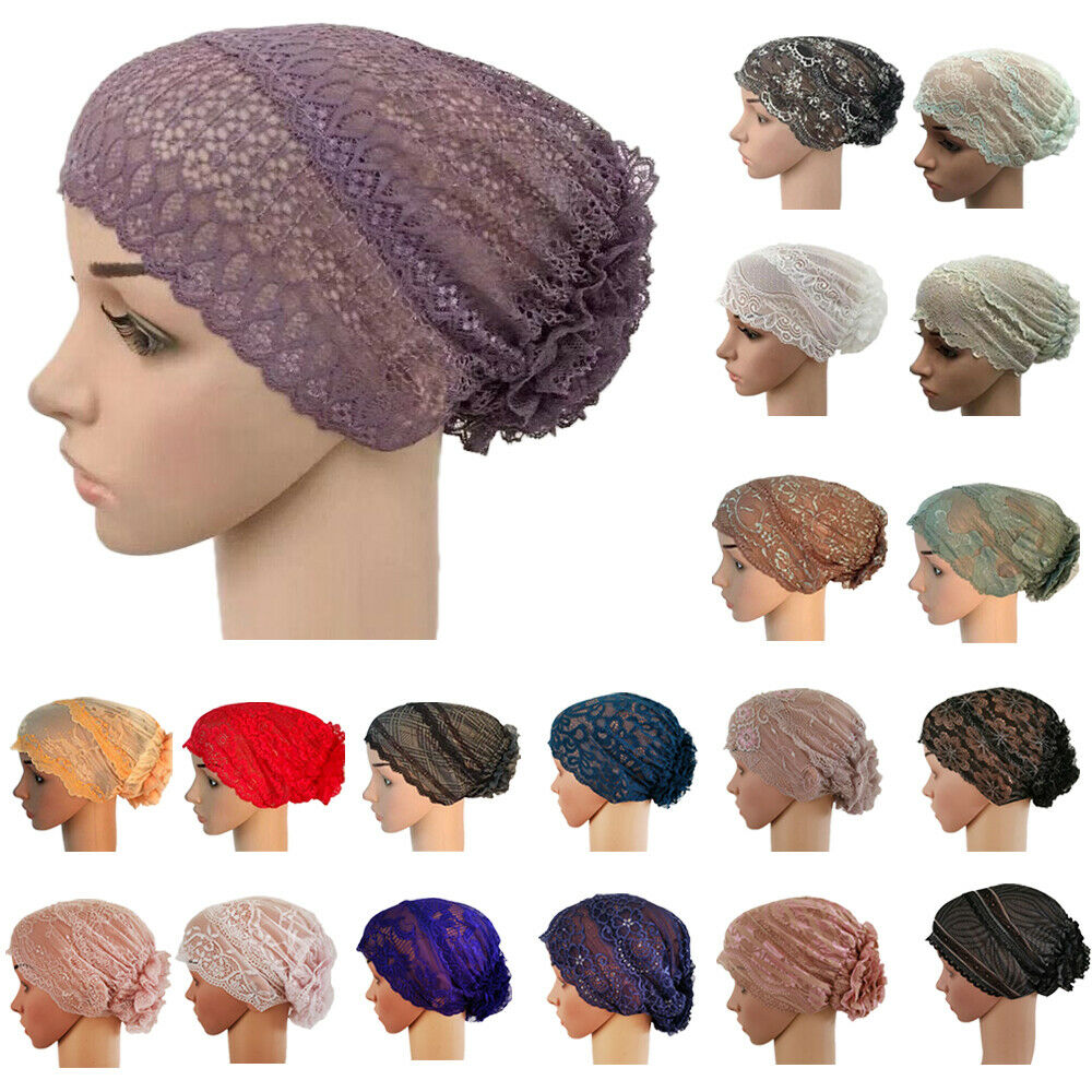Muslim Women Inner Hat Floral Lace Caps Islamic Underscarf Ninja Head Cover Bone Bonnet Headwear Turban Hair Loss Arab Lady Hats