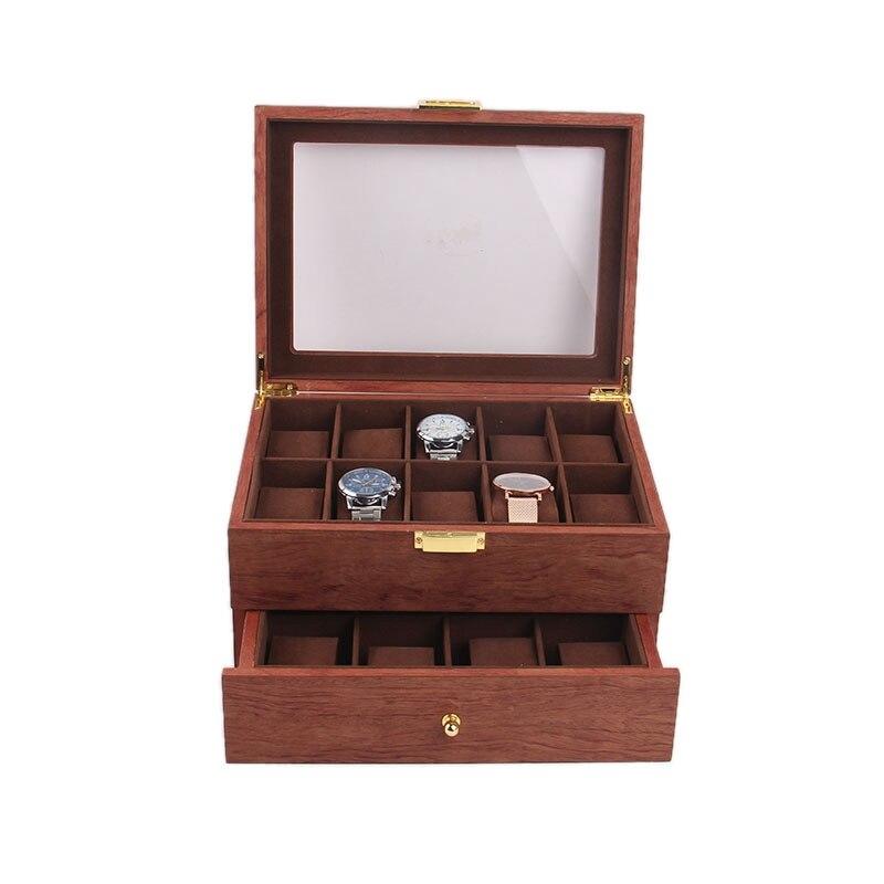 Boîte de support de montre en bois de luxe boîte pour montres hommes en verre haut bijoux organisateur Bo grilles montre organisateur nouveau