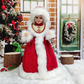 Christmas Figurines Smiling Girls Ornament Holiday New Year Decoration Fabric Toys best Gifts for Children Kids With Dance Sing