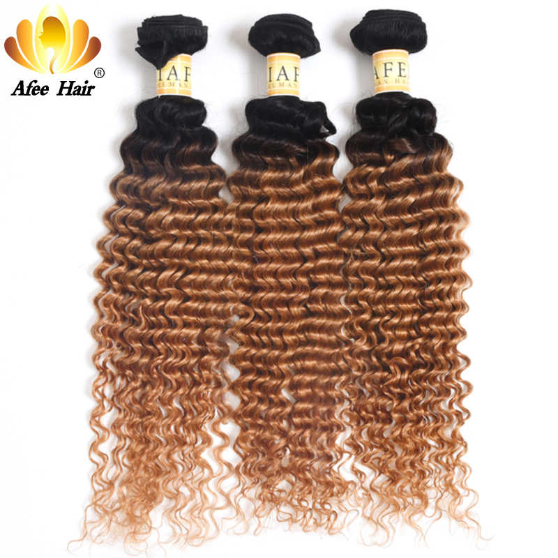 Aliafee Hair #1B/30 Colored Deep Wave Remy Hair Weave Ombre Hair Bundles Brazilian Hair Bundles Weave 100% Human Hair