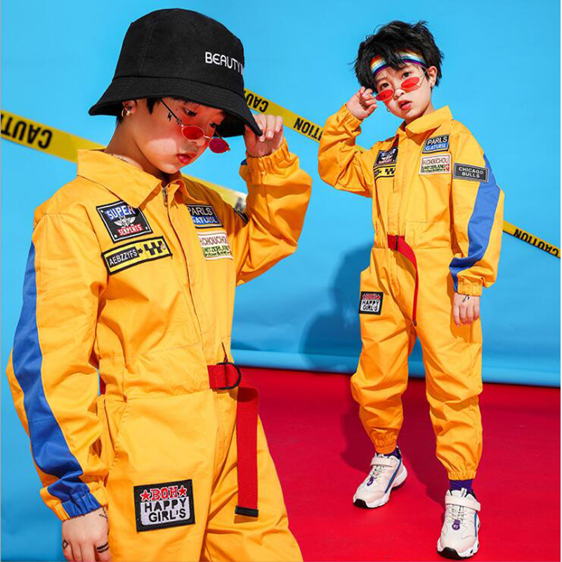Kids Long Sleeve Hip Hop Clothing Blue Red Loose Jumpsuit Overalls For Girls Boys Jazz Dance Costumes Dancing Clothes Wear