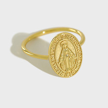 Flyleaf Gold Virgin Mary Round Brand Open Rings For Women High Quality 100% 925 Sterling Silver Lady Religion Jewelry