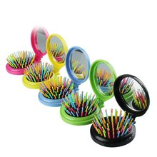Folding rainbow needle comb with mirror airbag comb head massage hairdressing mirror with brush vintage style portable folding airbag massage comb with mirror