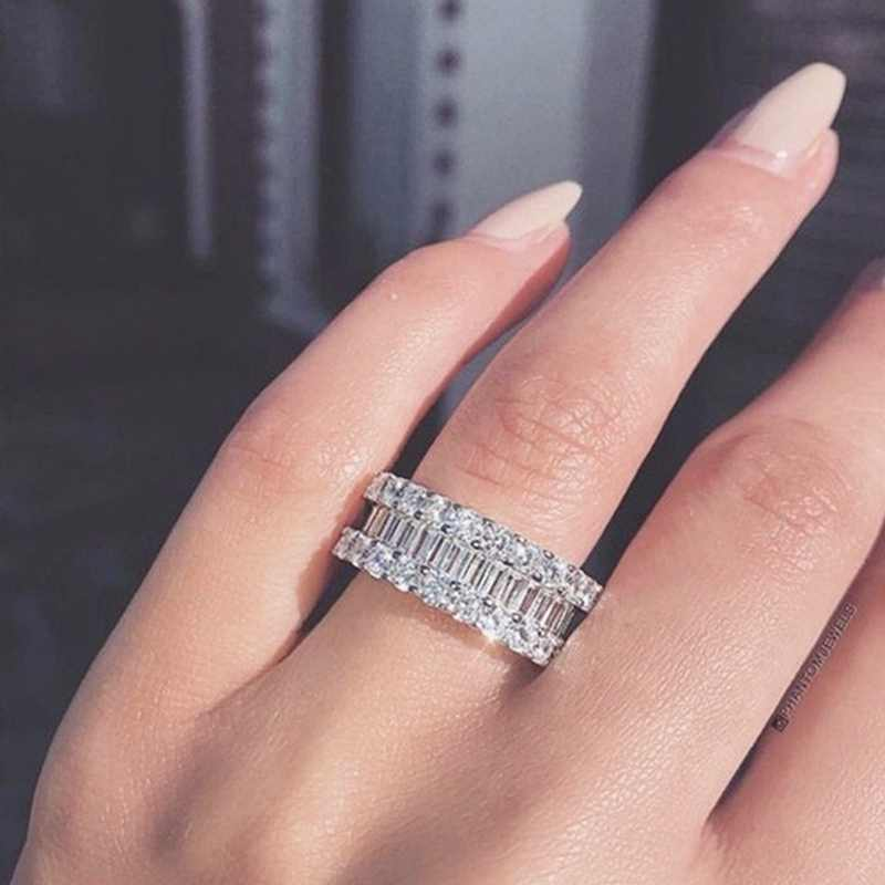 Een Breed Twee Smalle Witte Crystal Vrouwen Engagement Wedding Stone Rings Wedding Bands Party Geometrische Metalen