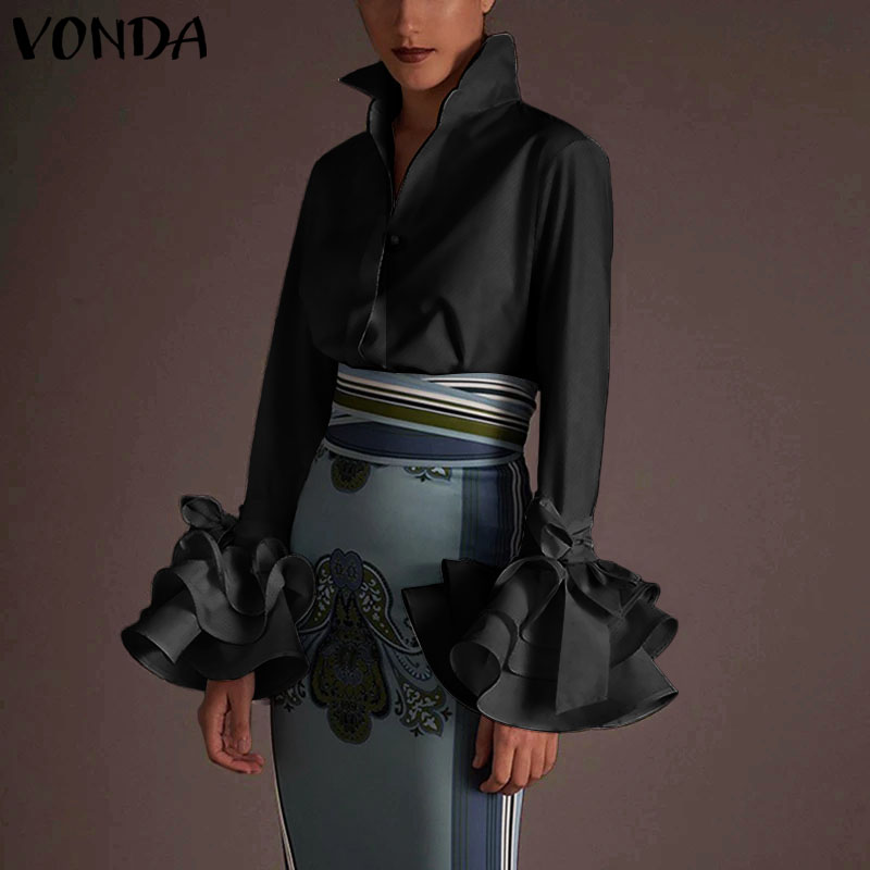 VONDA Women Shirts 2020 Spring Summer Sexy Turn-down Collar Flare Sleeve Party Tops Office Blouse Casual Solid Plus Size Blusas