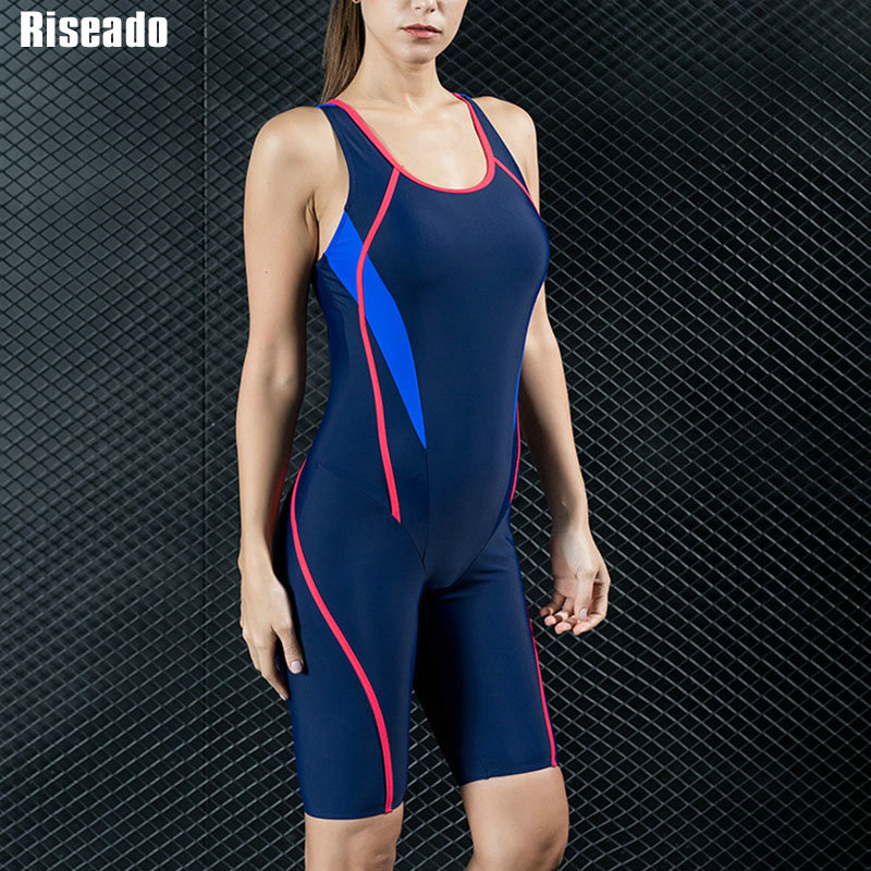 Riseado Sport Racing One Piece Swimsuit Women Competition Swimwear Boyleg Racerback Swimming Suits for Women Bathing Suits    -
