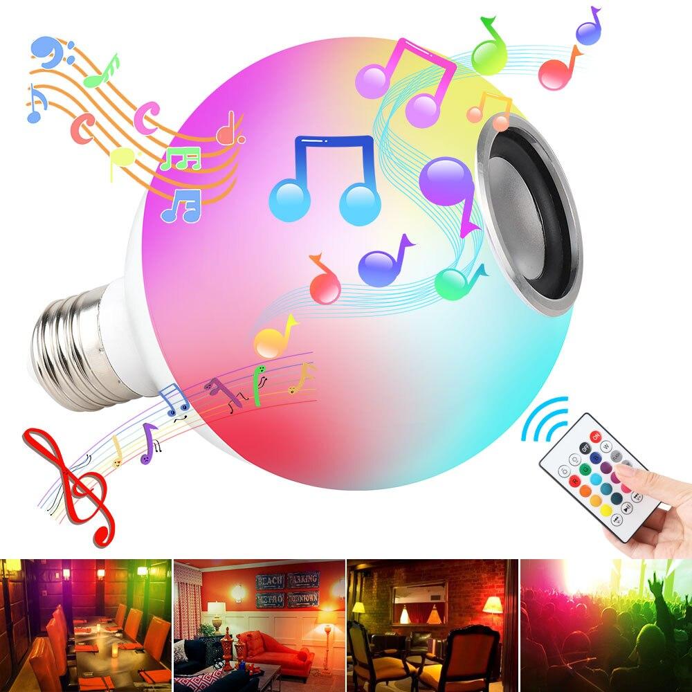 Wireless Bluetooth Remote Control Mini Smart Audio Speaker Bulb RGB Color Light Music E27 LED Lamp