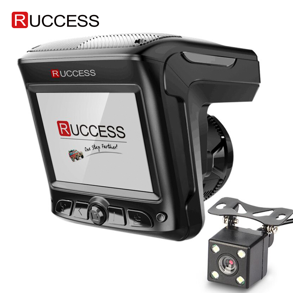 Original Ruccess 3 In 1 Radar Dvr FHD 1296P Built-in GPS Car Detector Dual Lens Car Camera Anti Radar Detector Russian Speedcam
